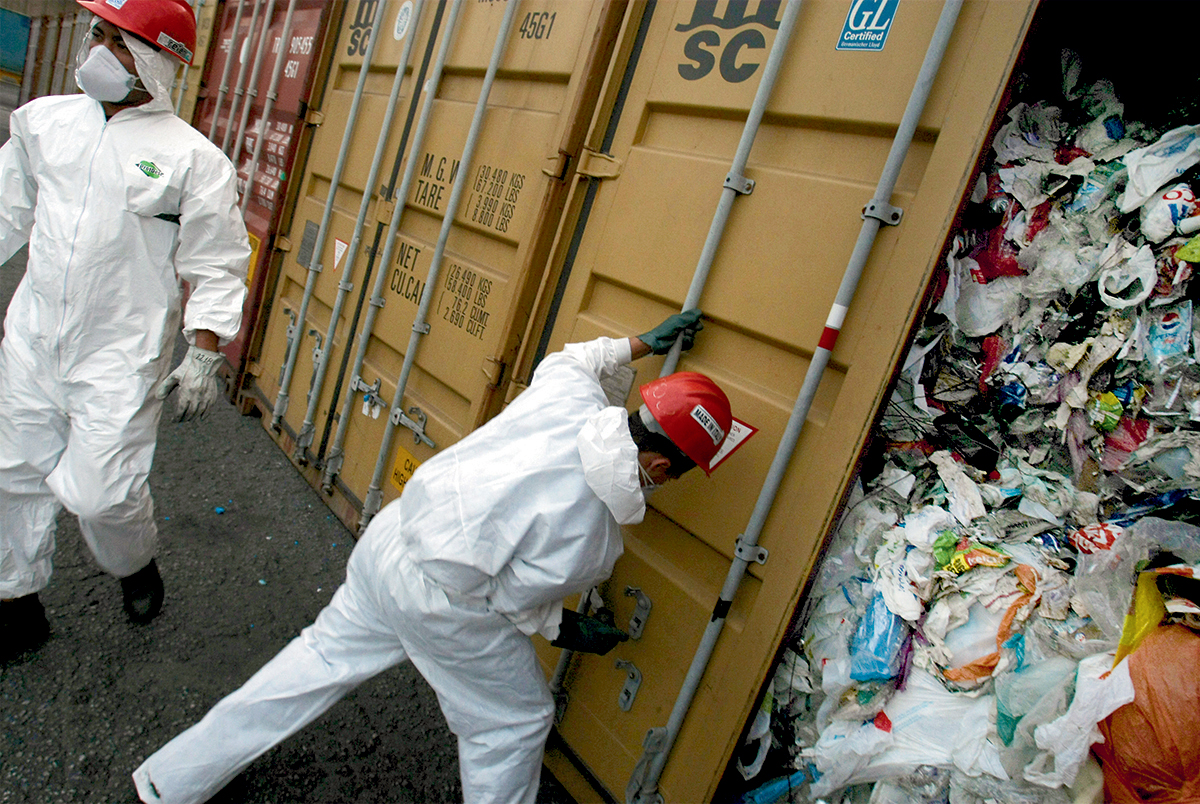 Trash including syringes, diapers and food remains about to be returned to Britain after being illegally exported to Brazil.